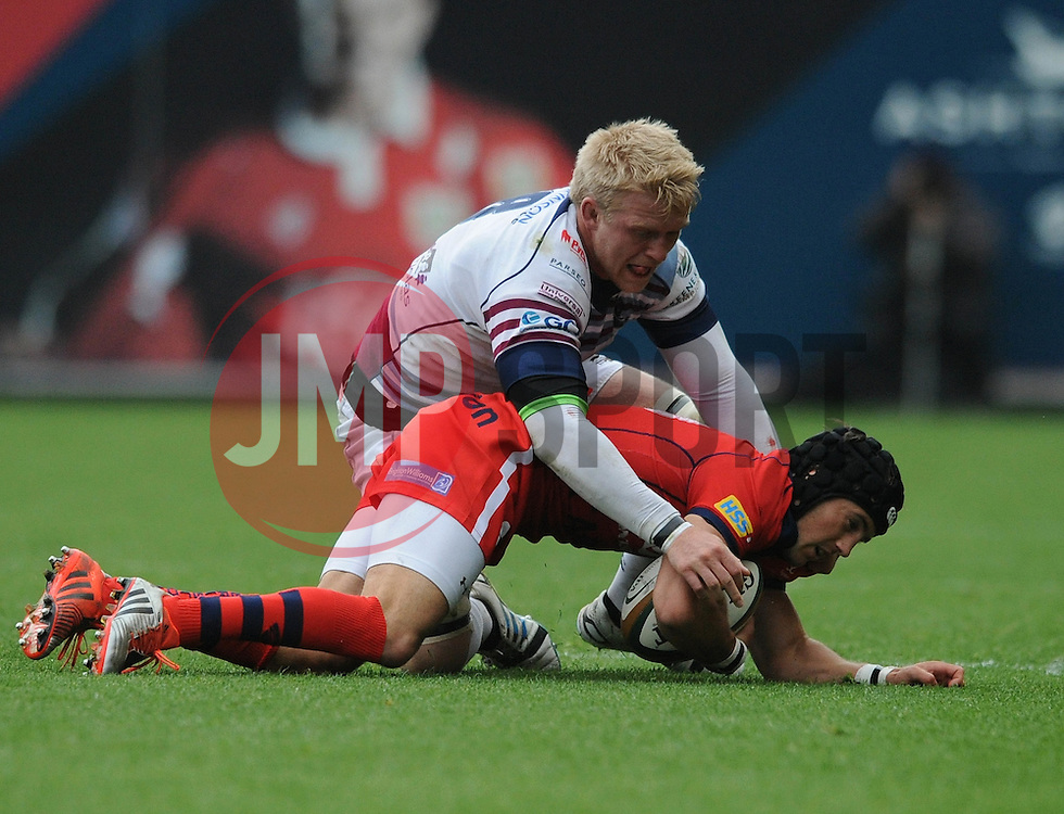 Bristol Fly-Half Matthew Morgan is tackled by Rotherham Number 8 Ben Morris - Photo mandatory by-line: Dougie Allward/JMP - Mobile: 07966 386802 - 02/05/2015 - SPORT - Rugby - Bristol - Ashton Gate - Bristol Rugby v Rotherham Titans - Greene King IPA Championship