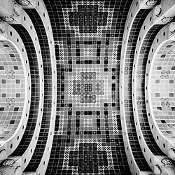 Wrigley Memorial curved tiled ceiling black and white picture. The Wrigley Memorial monument on Santa Catalina Island was built to honor the memory of William Wrigley Jr founder of Wrigley gum.