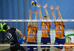 Domen Kotnik of Calcit vs Michal Kozlowski of ACH, Mario Koncilja of ACH and Andrej Flajs of ACH during volleyball match between ACH Volley and Calcit Volleyball in Round #3 of Finals of 1. DOL Slovenian Championship 2014/15, on April 19, 2015 in Hala Tivoli, Ljubljana, Slovenia.  Photo by Vid Ponikvar / Sportida