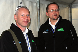 Tomaz Poljanec (vice president of Slovenian cycling federation) and Martin Hvastija (head coach) during the Men's Elite Road Race at the UCI Road World Championships on September 25, 2011 in Copenhagen, Denmark. (Photo by Marjan Kelner / Sportida Photo Agency)