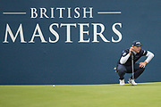 Matt Wallace of England on the 18th green sizing up a putt during the British Masters 2018 at Walton Heath Golf Course, Walton On the Hill, Surrey on 12 October 2018. Picture by Martin Cole.