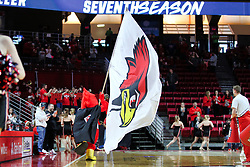 NORMAL, IL - December 16: Reggie the superhero during a college basketball game between the ISU Redbirds and the Cleveland State Vikings on December 16 2018 at Redbird Arena in Normal, IL. (Photo by Alan Look)