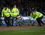 Dundee&rsquo;s Julen Etxabeguren goes off on a stretcher  - Dundee v Partick Thistle in the Ladbrokes Scottish Premiership at Dens Park, Dundee.Photo: David Young<br /> <br />  - &copy; David Young - www.davidyoungphoto.co.uk - email: davidyoungphoto@gmail.com