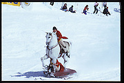 Cosmo Hulton & David Kirke. Dangerous Sports Club ski race. St. Moritz. 1984.<br />