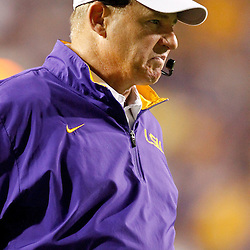September 10, 2011; Baton Rouge, LA, USA;  LSU Tigers head coach Les Miles  against the Northwestern State Demons during the second half at Tiger Stadium. LSU defeat Northwestern State 49-3. Mandatory Credit: Derick E. Hingle
