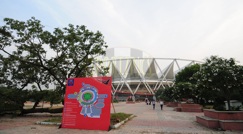 A outside view of Jawaharlal Nehru Stadium during match 16 of the Hero Indian Super League between The Delhi Dynamos FC and NorthEast United FC held at the Jawaharlal Nehru Stadium, Delhi, India on the 29th October 2014.<br /> <br /> Photo by:  Arjun Panwar/ ISL/ SPORTZPICS