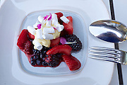 Vienna, Austria. Steirereck breakfast at the Meierei im Stadtpark.<br /> Marinierte Beeren mit Baiser & Passionsfrucht (Marinated Berries with Meringue and Passionfruit)