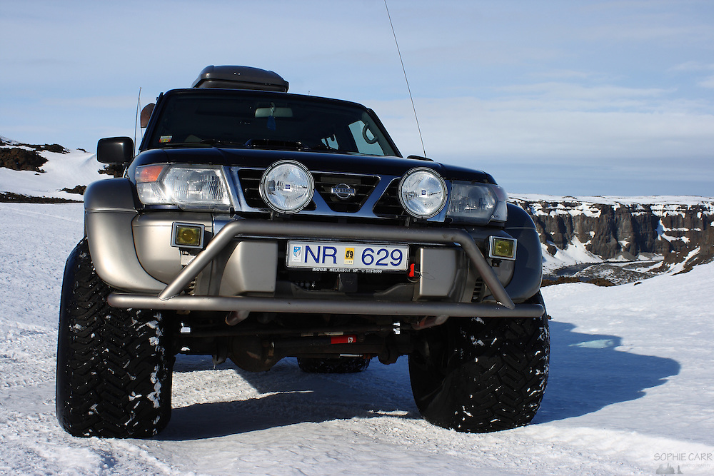 The superjeep that took us over the frozen ice and snow of the Vatnajökull National Park to see Selfoss, Dettifoss and Hafragilfoss waterfalls in Northern Iceland, along the Jökulsá á Fjöllum river