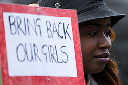 © Licensed to London News Pictures . 06/05/2014 . Piccadilly Gardens , Manchester , UK . Demonstration to highlight the plight of over 200 Nigerian girls kidnapped by Islamist Extremist group Boko Haram as today the group's leader , Abubakar Shekau , has said he will sell the girls in to slavery . Photo credit : Joel Goodman/LNP
