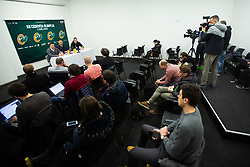 Sani Becirovic, Davor Uzbinec during press conference when Jurica Golemac (R) was introducted as a new head coach for KK Cedevita Olimpija  on January 28, 2020 in Arena Stozice, Ljubljana, Slovenia. Photo By Grega Valancic / Sportida