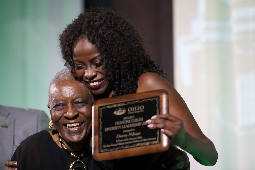 Dr. Francine Childs,  is Professor Emerita in the Department of African American Studies and first tenured African American professor at Ohio University, presented the Francine Childs Diversity Leadership Award to Diarra Ndiaye at the 34th Annual Leadership Awards Gala in Baker Ballroom on Wednesday, April 5, 2017. Photo by Kaitlin Owens