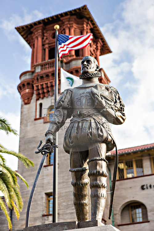Statue to Don Pedro Menendez de Aviles at the Lightner Museum in St. Augustine, Florida. Don Pedro Menendez de Aviles was the founder of the city. The building was originally the Alcazar Hotel.