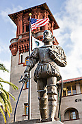Statue to Don Pedro Menendez de Aviles at the Lightner Museum in St. Augustine, Florida. Don Pedro Menendez de Aviles was the founder of the city. The building was originally the Alcazar Hotel.