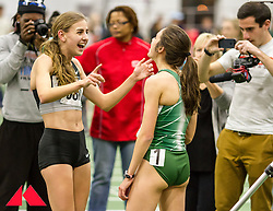 Womens Invitational Mile at BU Terrier Indoor Track, Mary Cain talks to Abbey D'Agostino after race