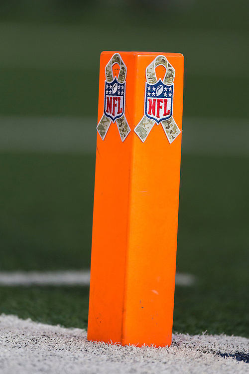 ARLINGTON, TX - NOVEMBER 18:  End Zone marker during a game between the Dallas Cowboys and the Cleveland Browns at Cowboys Stadium on November 18, 2012 in Arlington, Texas.  The Cowboys defeated the Browns 23-20.  (Photo by Wesley Hitt/Getty Images) *** Local Caption ***