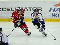 Ishockey , Get - ligaen <br /> 11.01.2011 <br /> Kristins Hall<br /> Lillehammer I.K  v  Sparta Sarpsborg  1-3<br /> Foto:Dagfinn Limoseth  -  Digitalsport<br /> Aleksander Rindal Nygaard , Lillehammer og Dion Knelsen , Sparta