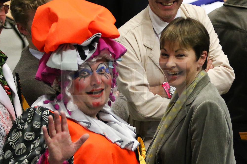 © Licensed to London News Pictures. 08/05/2015. Brighton, UK. The Green Party MP Caroline Lucas and Dame Doxin at the counting of the votes for the General Election, today May 8th 2015. Photo credit : Hugo Michiels/LNP