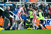 Stoke City midfielder Joe Allen (#4) is replaced by Stoke City forward Peter Crouch (#25) during the Premier League match between Newcastle United and Stoke City at St. James's Park, Newcastle, England on 16 September 2017. Photo by Craig Doyle.