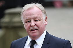© Licensed to London News Pictures . 18/03/2016 . Manchester , UK . Les Dennis arrives at the service. Television stars and members of the public attend the funeral of Coronation Street creator Tony Warren at Manchester Cathedral . Photo credit : Joel Goodman/LNP