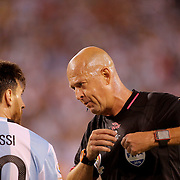 EAST RUTHERFORD, NEW JERSEY - JUNE 26: Lionel Messi #10 of Argentina receives a yellow card from Brazilian referee Heber Lopes during the Argentina Vs Chile Final match of the Copa America Centenario USA 2016 Tournament at MetLife Stadium on June 26, 2016 in East Rutherford, New Jersey. (Photo by Tim Clayton/Corbis via Getty Images)