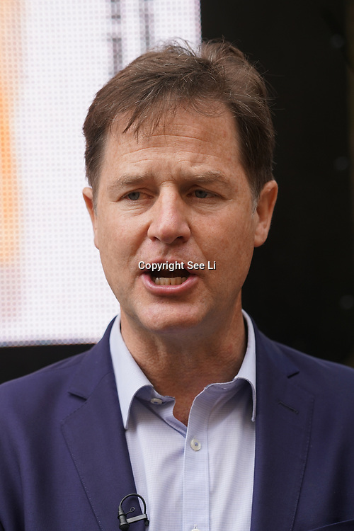 London,England,UK. 31th May 2017. Lib Dem Nick Clegg unviel a hard-hitting poster attacking Theresa May at Geraldine Mary Harmsworth Park,London,UK. by See Li