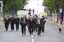 © Licensed to London News Pictures. 23/05/2013.Woolwich Soldier Murder. Boris Johnson with Nick Rynsford MP in Woolwich..Woolwich 'terrorist attack': One dead and two seriously injured. Woolwich Barracks,Woolwich..Photo credit :Grant Falvey/LNP