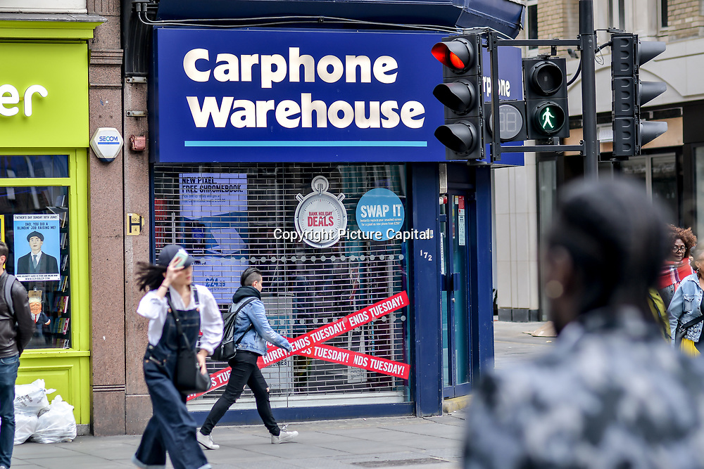London, England, UK. 27 May 2019. Carphone Warehouse closing down at Liverpool Street, London, UK
