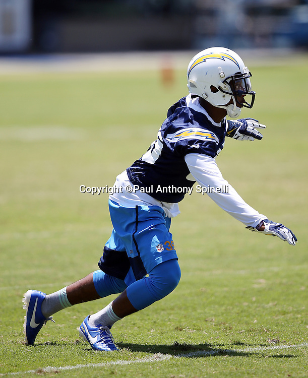 San Diego Chargers cornerback Richard Crawford (35) chases the action during the San Diego Chargers Spring 2015 NFL minicamp practice on Wednesday, June 17, 2015 in San Diego. (©Paul Anthony Spinelli)