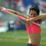 SUHR - 13USA, Des Moines, Ia.- Jenny Suhr checked her grip before vaulting Sunday in the USA Championships.   Photo by David Peterson