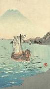 Boat sailing away from the shoreline, Mount  Fuji in background. c1900-1920.  Shokoku Yamamoto (1870-1965) Japanese artist.