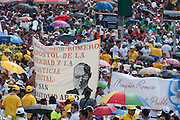 An estimated 380,00 people including pilgrims from around the world gathered as El Salvador celebrated the beatification ceremony and mass announcing the beatification of Archbishop Oscar Romero. The Archbishop was slain at the alter of his Church of the Divine Providence by a right wing gunman in 1980. Oscar Arnulfo Romero y Galdamez became the fourth Archbishop of San Salvador, succeeding Luis Chavez, and spoke out against poverty, social injustice, assassinations and torture. Romero was assassinated while offering Mass on March 24, 1980.