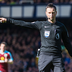referee Mark Clattenburg awards a penalty to Burnley in the Premier League match between Everton and Burnley<br /> (c) John Baguley | SportPix.org.uk