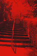 Outdoor stone stairs, red, abstract. 2000