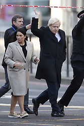 © Licensed to London News Pictures. 30/11/2019. London, UK. Prime Minister Boris Johnson visits the scene near London Bridge the day after a terrorist attack with Home Secretary Priti Patel. Two people were killed and three injured after the attacker, named by police as 28-year-old Usman Khan stabbed a man and a woman to death on London Bridge. Photo credit: Peter Macdiarmid/LNP