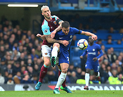 April 8, 2018 - London, England, United Kingdom - West Ham United's Marko Arnautovic beats Chelsea's Cesar Azpilicueta.during English Premier League match between Chelsea and West Ham United at Stamford Bridge, London, England on 08 April 2018. (Credit Image: © Kieran Galvin/NurPhoto via ZUMA Press)