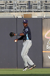 May 28, 2018 - Tampa, FL, U.S. - TAMPA, FL - MAY 23: Jesus Sanchez (4) of the Stone Crabs tosses the ball in from the outfield during the Florida State League game between the Charlotte Stone Crabs and the Tampa Tarpons on May 23, 2018, at Steinbrenner Field in Tampa, FL. (Photo by Cliff Welch/Icon Sportswire) (Credit Image: © Cliff Welch/Icon SMI via ZUMA Press)