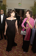 Cherie Blair and rosa Monckton. Grosvenor House Antiques Fair charity Gala preview. 13 June 2002. © Copyright Photograph by Dafydd Jones 66 Stockwell Park Rd. London SW9 0DA Tel 020 7733 0108 www.dafjones.com