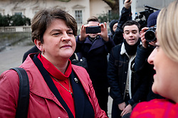 © Licensed to London News Pictures. 15/01/2019. London, UK. Leader of the Democratic Unionist Party (DUP) Arlene Foster arrives to speak at 'A Better Deal' event, outlining the opportunities if Parliament rejects the Government's proposed deal. Today, MPs are due to vote on British Prime Minister Theresa May's EU withdrawal deal, after the previous vote in December was postponed. Photo credit : Tom Nicholson/LNP