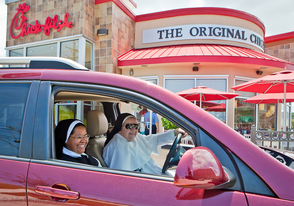 Nuns at a Chick-fil-A in Metaire Louisiana on Cick-fil-A Appriciation Day