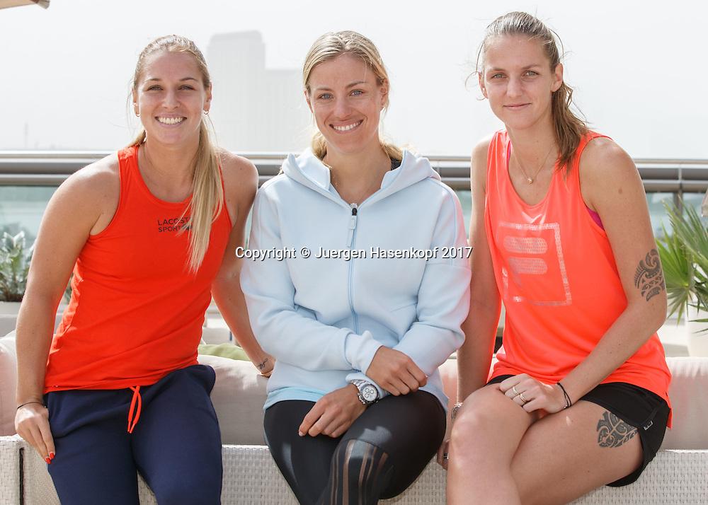 DOMINIKA CIBULKOVA, ANGELIQUE KERBER, KAROLINA PLISKOVA, Gruppenfoto<br /> <br /> Tennis - Dubai Tennis Championships 2017 -  WTA -  Dubai Duty Free Tennis Stadium - Dubai  -  - United Arab Emirates  - 19 February 2017.