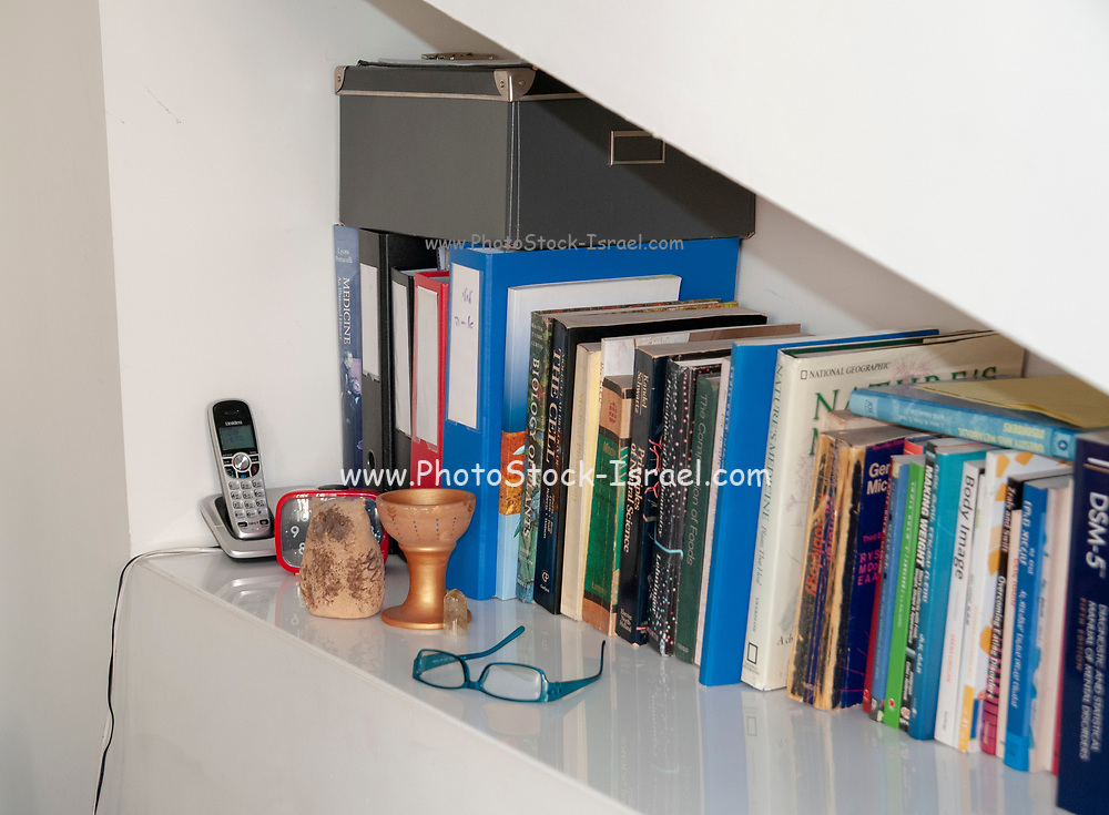 Bookshelf in a medical professional's consulting room
