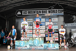 01.06.2014, Bullentaele, Albstadt, GER, UCI Mountain Bike World Cup, Cross Country Herren, im Bild von Links nach Rechts Fabian Giger Schweiz Nino Schurter Schweiz Julien Absalon Frankreich Stephan Tempier Frankreich Moritz Milatz Deutschland // during Mens Cross Country Race of UCI Mountainbike Worldcup at the Bullentaele in Albstadt, Germany on 2014/06/01. EXPA Pictures © 2014, PhotoCredit: EXPA/ Eibner-Pressefoto/ Langer<br /> <br /> *****ATTENTION - OUT of GER*****