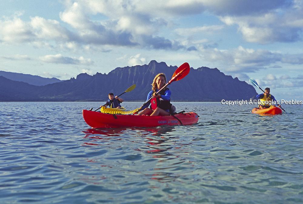 Kayaking, Kaneohe Bay, Oahu, Hawaii