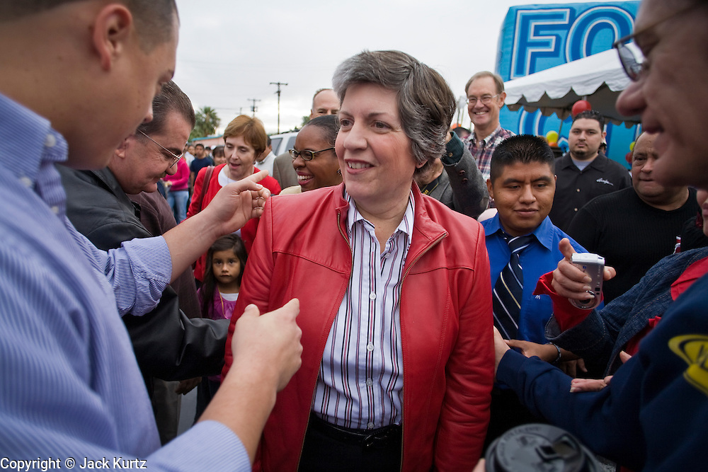 27 NOVEMBER 2008 -- PHOENIX, AZ: Arizona Governor Janet Napolitano greets supporters at a Thanksgiving breakfast at a McDonald's restaurant in Phoenix, AZ. Napolitano, an early supporter of then Illinois Senator now President Elect Barack Obama, has been widely rumored to be Obama's choice for Secretary of the United States Department of Homeland Security. Napolitano, a Democrat, was the US Attorney for Arizona during the Clinton Administration, elected to Arizona Attorney General and, in 2002, elected Governor of Arizona. She was reelected in 2006. She has been a strong supporter of increased border enforcement.  Photo by Jack Kurtz / ZUMA Press