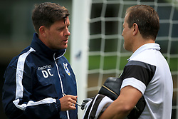 Bristol Rovers manager Darrell Clarke chats with Forest Green Rovers manager Mark Cooper prior to kick off - Mandatory by-line: Paul Roberts/JMP - 22/07/2017 - FOOTBALL - New Lawn Stadium - Nailsworth, England - Forest Green Rovers v Bristol Rovers - Pre-season friendly