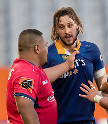 Tasman's Andrew Makalio, left, and Otago's Josh Furno have a difference of opinion in the Mitre 10 Cup rugby match, Forsyth Barr Stadium, Dunedin, New Zealand, Sept. 16 2017.  Credit:SNPA / Adam Binns ** NO ARCHIVING**