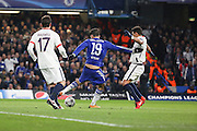 Chelsea striker Diego Costa (19) scoring goal to make it 1-1 during the Champions League match between Chelsea and Paris Saint-Germain at Stamford Bridge, London, England on 9 March 2016. Photo by Matthew Redman.