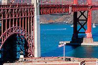 United States, California, San Francisco. The famous Golden Gate Bridge, a suspension bridge spanning the Golden Gate.