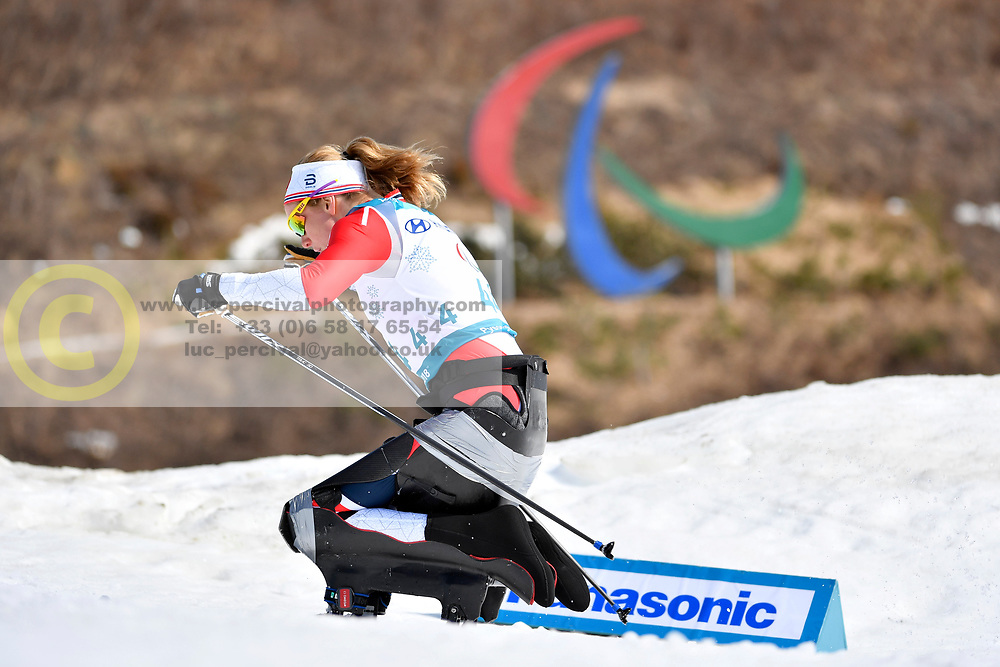 SKARSTEIN Birgit NOR LW11 competing in the ParaSkiDeFond, Para Nordic Skiing, Sprint at  the PyeongChang2018 Winter Paralympic Games, South Korea.