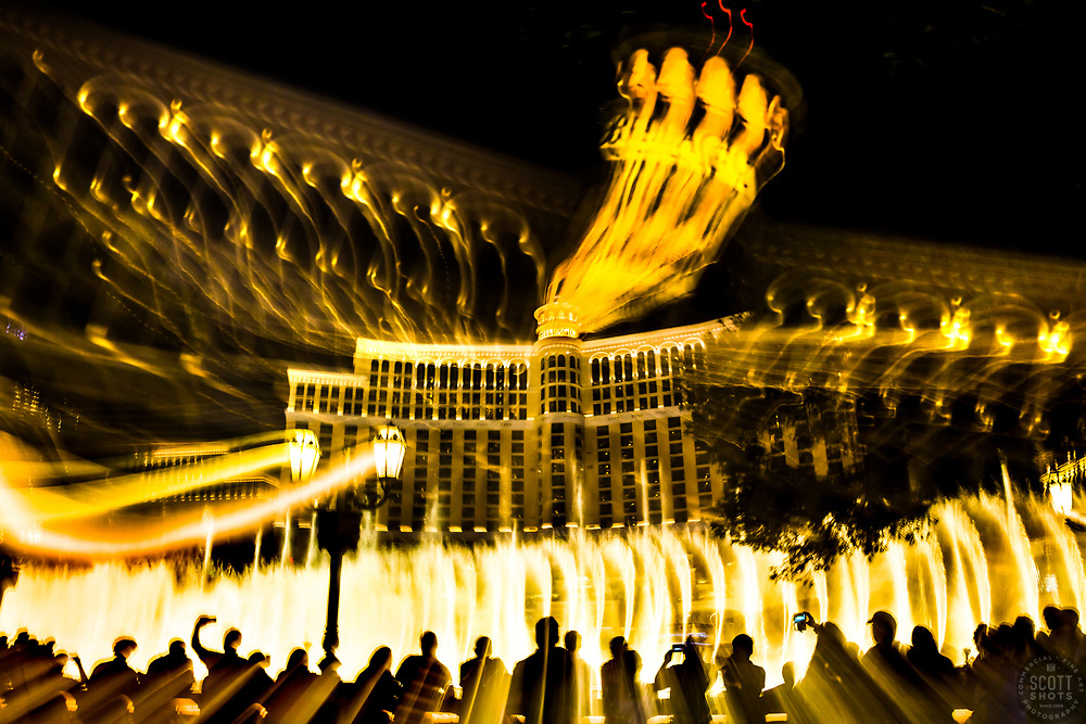 """Las Vegas Lights 12"" - Photograph taken at the Las Vegas, Nevada Strip at night. The look was achieved by shooting a handheld long exposure and zooming the lens during the exposure."